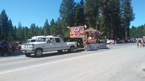 4th july parade, with free beer, beef jerky, and lots of red white and blue