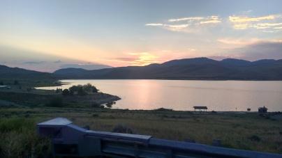 sunset over reservoir