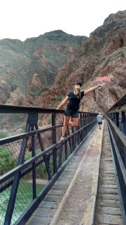 Karli on Black Bridge over the Colorado River