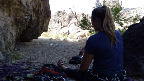 karli relaxing after the climbing in shade