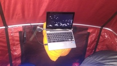 laptop rigged for movies to rooftent