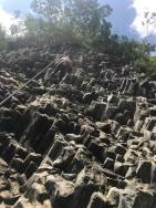 climbing the basalt formations in panama