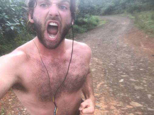 me running one humid morning up a hill near Panama City. A nice cool camp high up