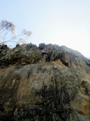 higher up her first trad lead
