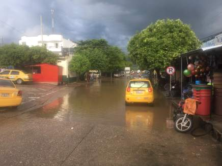 localized flooding during a downpour