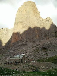 the mountain hut below the face