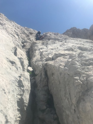 rappelling back down