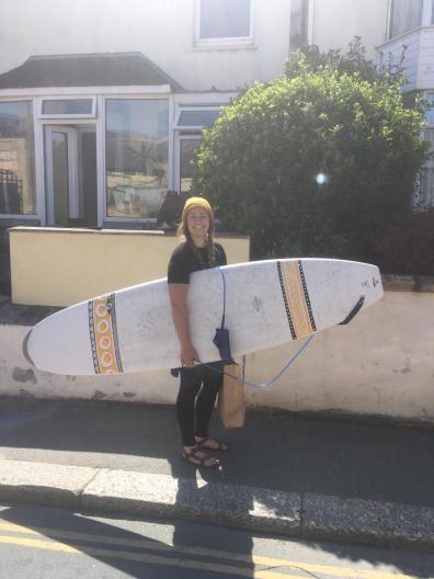 Karli's first surfboard